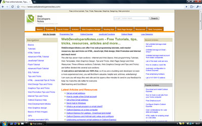Screenshot of how WebdevelopersNotes.com as displayed on Google Chrome