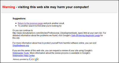 The full-page Google warning - This web site may harm your computer