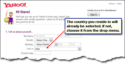 How to create an email account using yahoo
