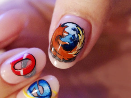 Browser logos on nails - a geeky art form!