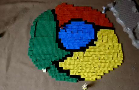 Chrome logo made out of Lego bricks