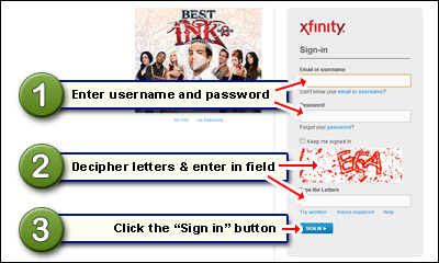 Comcast login page - sign in at the account with username and password