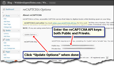Enter the two reCAPTCHA API keys in the fields and click on Update Options button