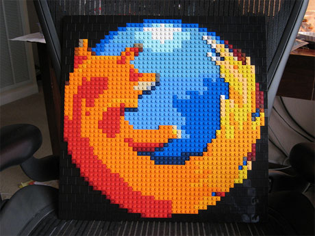 Firefox logo recreated with Lego bricks