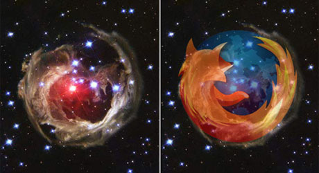 Firefox logo in space