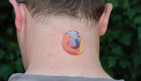Matt Cutts temporary Firefox tattoo