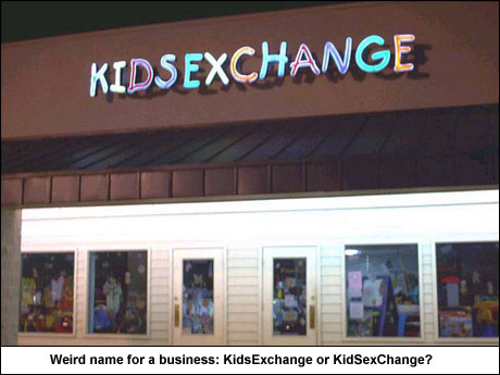 KidsExchange or KidSexChange - weird business name that should be changed or at least the typeface!
