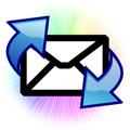 Mail envelop with incoming and outgoing arrows