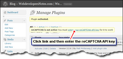 The reCAPTCHA WordPress plugin now needs the private and public API key to become active