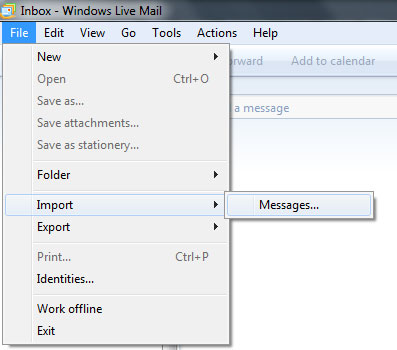 Transfer emails from Outlook Express to Windows 7 - Windows Live Mail email program