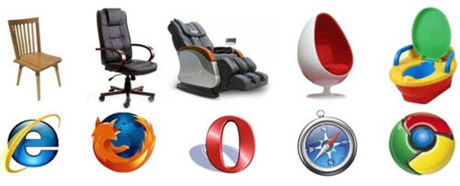 Popular web browsers and how they compare to chairs - funny geeky joke