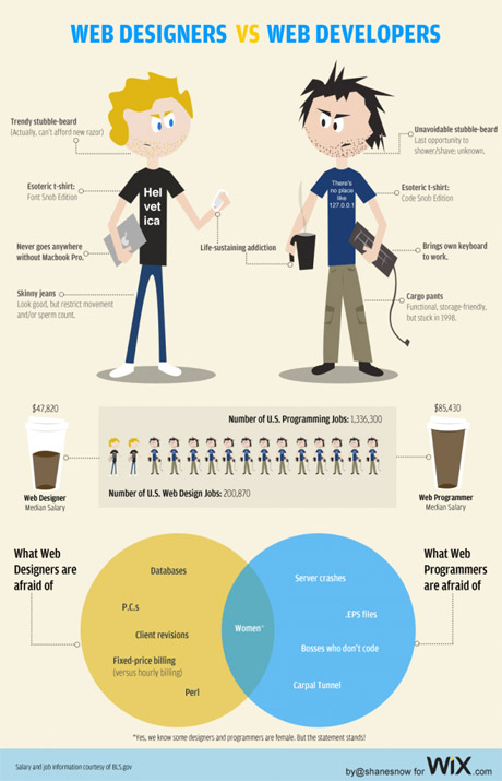 Web developer vs. web designer - tongue-in-cheek comparison infographic
