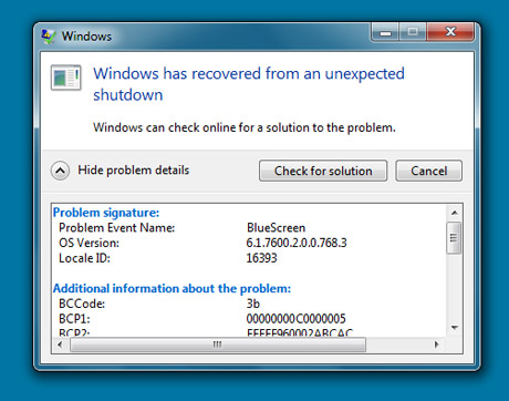 Windows Blue Screen of Death Windows 7 Windows 7 Blue Screen Error