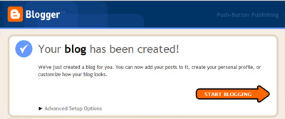 Message confirming the creation of a blog at Google Blogger