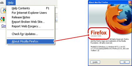 Get the browser version of Firefox