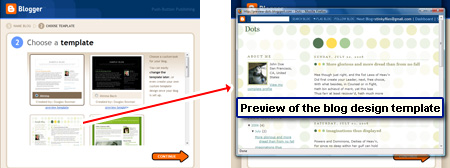 Choose a design template - you can even get a preview in a smaller browser window