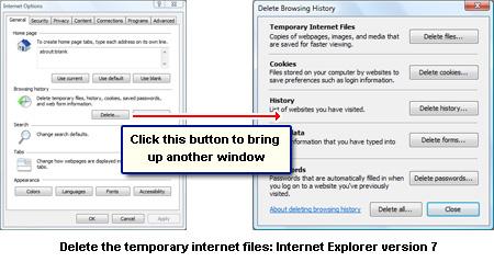 Selektiv Bereinigung der temporären Internet-Dateien und andere gespeicherte Daten in Internet Explorer Version 7