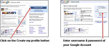 Get started on the Google web page and create your profile