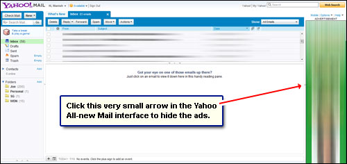 How to remove (hide) ads from Yahoo Mail (email) interface