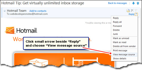 How to view the email header information on Hotmail