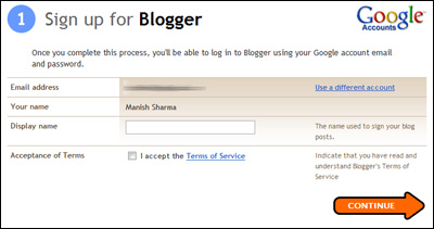Put a display name for your blog - applies only for people who used their existing Gmail account to sign in at Blogger