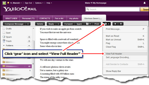 View the full email headers in Yahoo! Mail