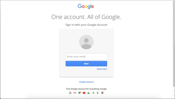 Google account sign in page