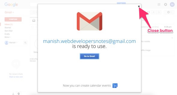 Close Gmail suer guide popup