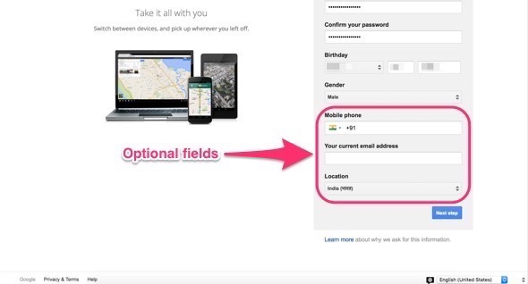 Optional fields of the Google form