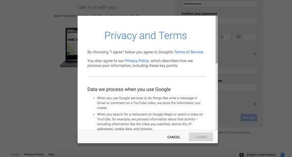 Privacy and Terms popup