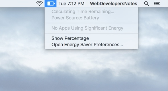 Click the battery icon