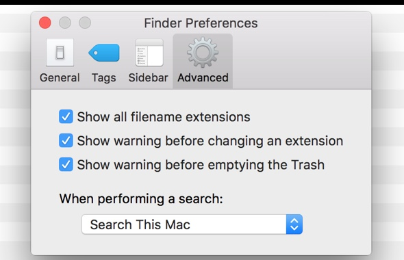 Check the two options to view file extensions and display warning if changed