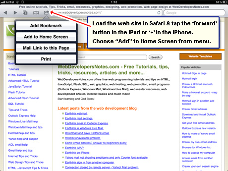 Web site icon on the iPhone, iPad and iPod - create Webclip icon