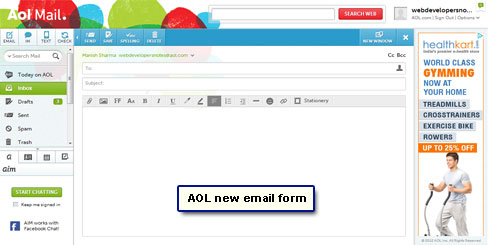 Blank email form at AOL