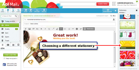 Choose a different stationery