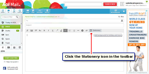 The stationery icon in the AOL toolbar