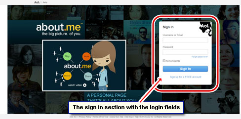 The AOL email account sign in page