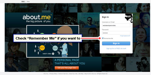 Check 'Remember Me' if you don't want to enter login information each time