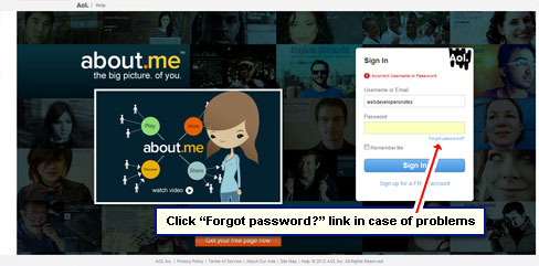 Click 'Forgot password?' in case of problems