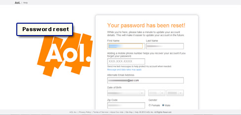 how to change aol mail password