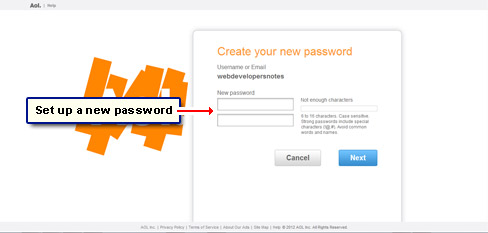 Set up the account password