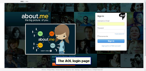 The AOL login page