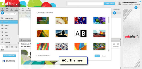 All available AOL themes shown in a pop-up.