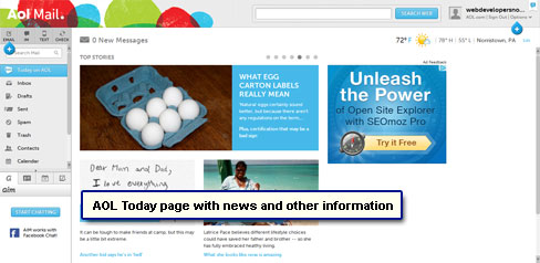 The AOL Today page is displayed