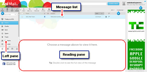 The AOL webmail interface - left pane, message list and reading pane