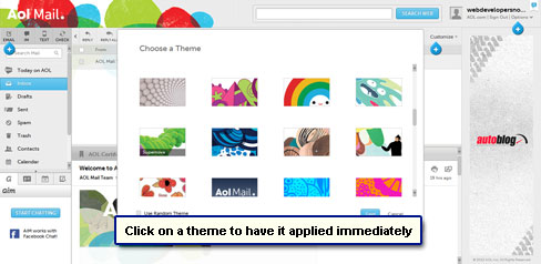 Change the interface and apply a theme by clicking on it