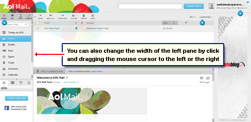 Left pane width can be altered by dragging the separator to the left or the right