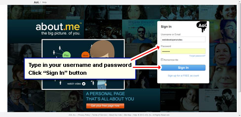 Enter your account username and password