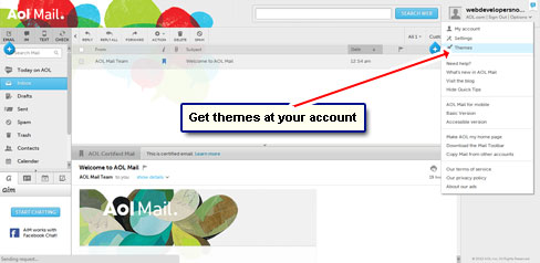 Get themes for your AOL account from the 'Options' drop down menu