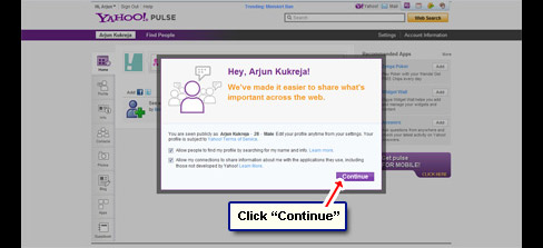 Login at your Yahoo Pulse account